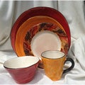 Tortoise Shell Brown and Red Ceramic 5-piece Place Setting Bundle (Italy)