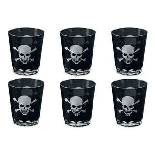 Set of 6 Skull & Crossbones Etched Rocks Glasses