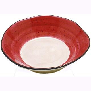 Red Tortoise Shell Ceramic Pasta Bowl (Italy)