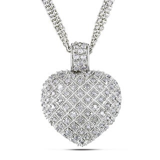 Miadora Sterling Silver 1ct TDW Diamond Heart Triple-Strand Necklace