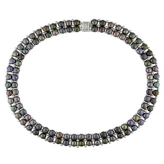 Goldtone Freshwater Black Pearl Bead Necklace (6-7 mm)