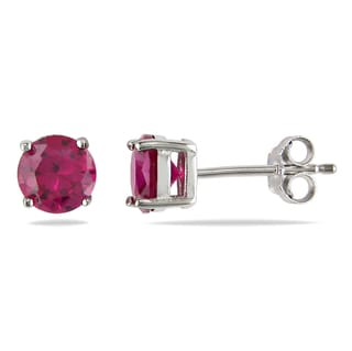 M by Miadora Sterling Silver Created Ruby Solitaire Earrings