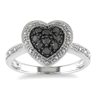 M by Miadora Sterling Silver 1/4ct TDW Round-cut Black Diamond Heart Ring