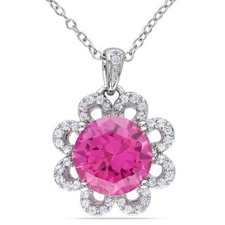 Miadora Sterling Silver Created Pink Sapphire and White Topaz Necklace