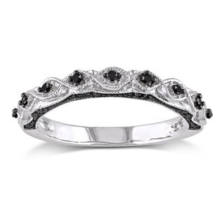 Miadora 10k White Gold 1/8ct TDW Black Diamond Stackable Anniversary Wedding Band