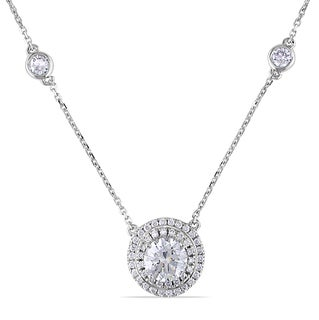 Miadora 14k Gold 1 3/4ct TDW Certified Diamond Halo Station Necklace (SI1-SI2)