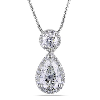 Miadora 14k White Gold 1 2/5ct TDW Certified Pear Diamond Necklace (F-G) (IGI)