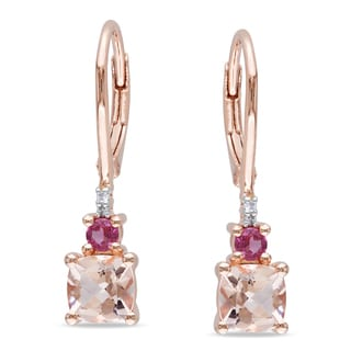 Miadora Rose Plated Silver Morganite, Tourmaline and Diamond Earrings