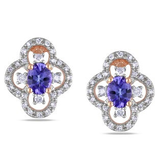Miadora 10k Rose Gold Tanzanite 1/4ct TDW Diamond Earrings (G-H,I1-I2)