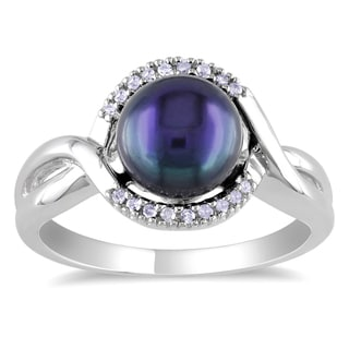 Miadora Sterling Silver Culltured Freshwater Black Pearl and Diamond Ring