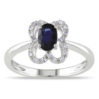 Miadora 10k White Gold Oval-cut Sapphire and 1/10ct TDW Diamond Ring (G-H, I1-I2)