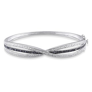 Miadora Sterling Silver 1/2ct TDW Black Diamond Bangle