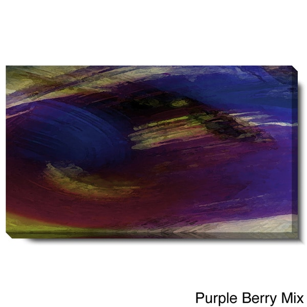 Studio Works Modern 'Prelude - Purple Berry Mix and Red Misteltoe' Gallery Wrapped Canvas