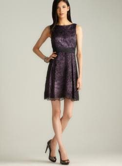 Adrianna Papell Back Bow Floral Embroidered Party Dress