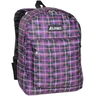 Everest 16.5-inch Purple Black Plaid Printed Backpack