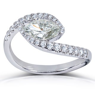 Annello Certified 14k White Gold 1 1/3ct TDW Marquise Diamond Ring (H-I, SI3)