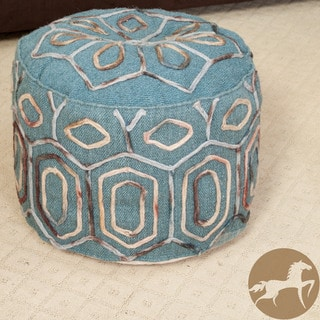 Christopher Knight Home Kaia Teal Wool Embroidered Pouf Ottoman