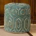 Christopher Knight Home Kaia Teal Wool Embroidered Pouf