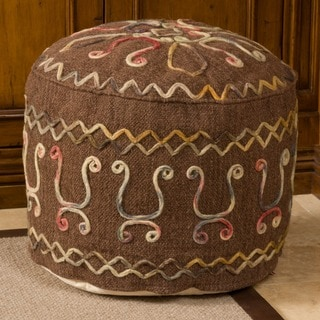 Christopher Knight Home Bahari Brown Wool Embroidered Pouf Ottoman