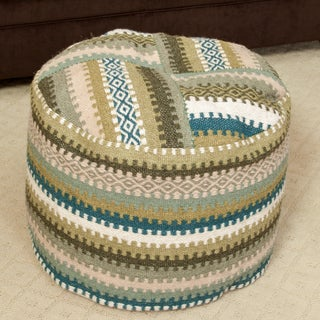 Christopher Knight Home Adan Wool Patch Pouf Ottoman