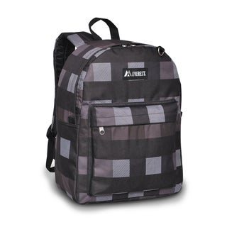 Everest 16.5-inch Charcoal Grey Plaid Printed Backpack