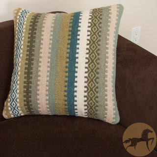 Christopher Knight Home Padma Green Wool Stripe Pillow