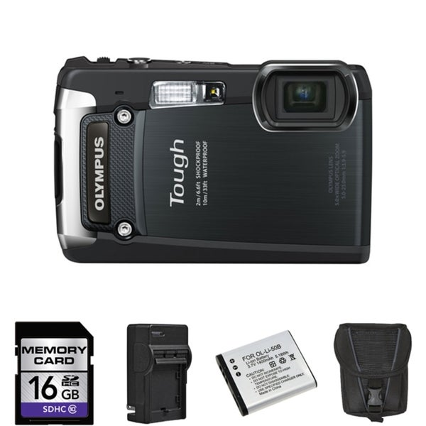 Olympus Tough TG-820 iHS Waterproof Black Digital Camera 16GB Bundle