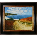 Claude Monet 'Meadow Road to Pourville, 1882' Hand Painted 33-inch Framed Canvas Art