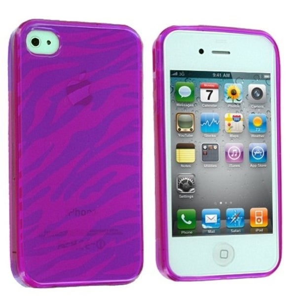 INSTEN Purple Zebra Candy Skin Phone Case Cover for Apple iPhone 4/ 4S