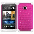 BasAcc Hot Pink/ White Lattice TotalDefense Case for HTC One/ M7
