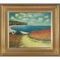 Claude Monet 'Meadow Road to Pourville, 1882' Hand Painted 34-inch Framed Canvas Art