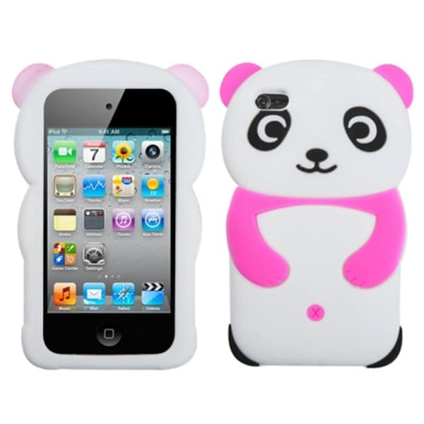 INSTEN White Panda/ Hot Pink Hands iPod Case Cover for Apple iPod touch 4