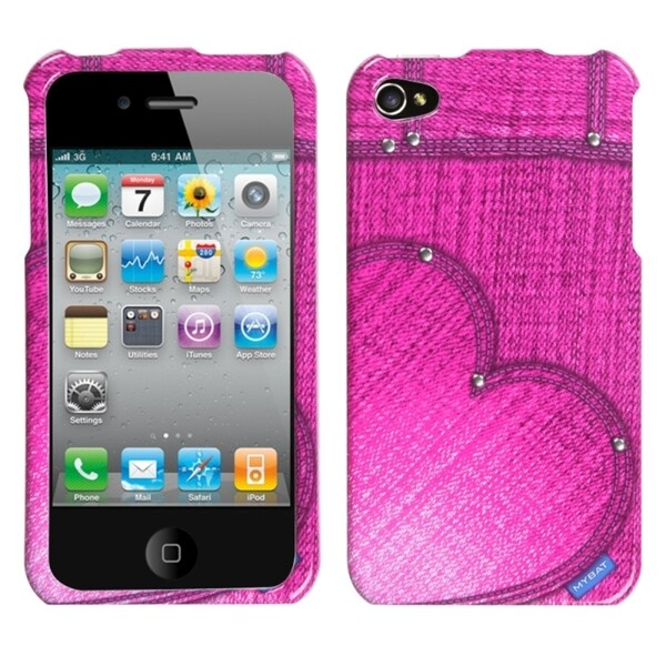 INSTEN Blushing Heart Jeans/ Studs Phone Case Cover for Apple iPhone 4S/ 4