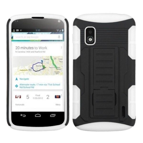 BasAcc Black/ White Car Armor Stand Case for LG E960 Nexus 4