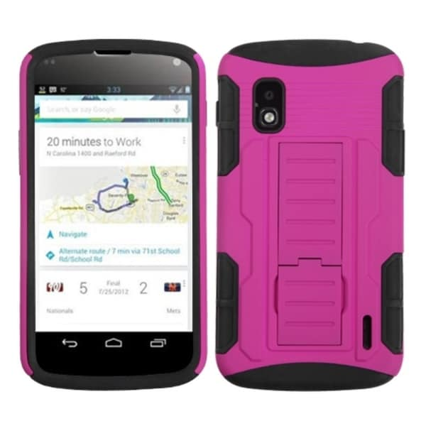 BasAcc Hot Pink/ Black Car Armor Stand Case for LG E960 Nexus 4