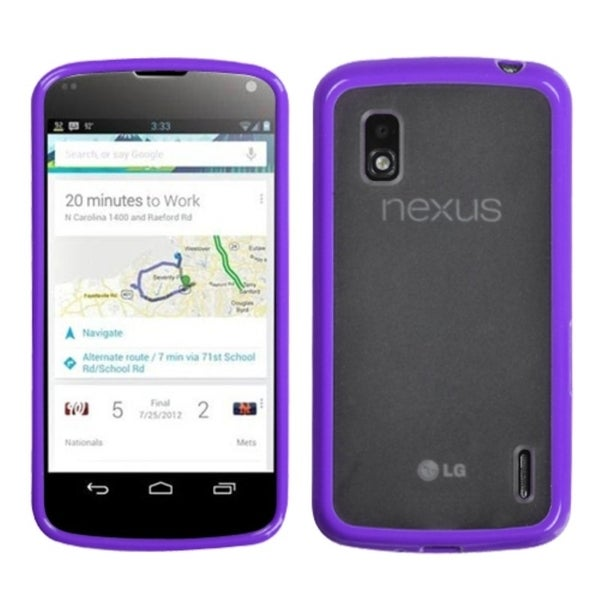 BasAcc Transparent Clear/ Solid Purple Gummy Case for LG E960 Nexus 6