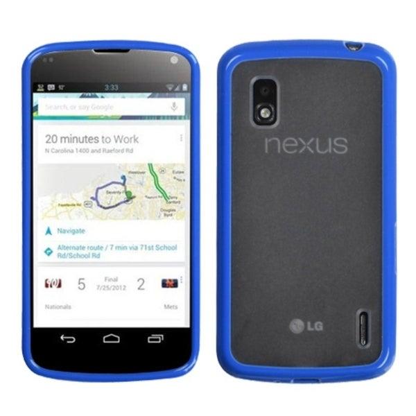 BasAcc Transparent Clear/ Dark Blue Gummy Case for LG E960 Nexus 7
