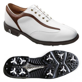 Footjoy Mens Icon Stingray White/ Brown Golf Shoes