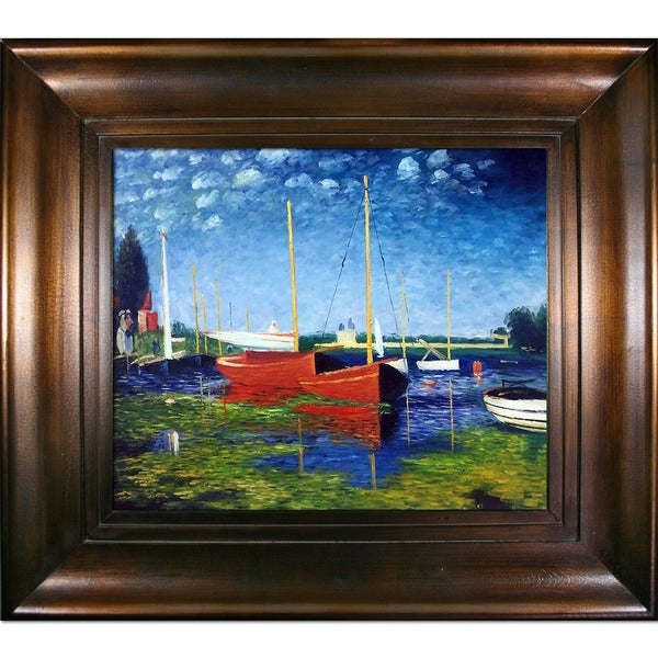 Claude Monet 'Red Boats at Argenteuil' Hand Painted 35.5-inch Framed Canvas Art 11579457
