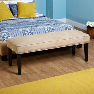 Simple Living Beige Microfiber Nailhead Bench