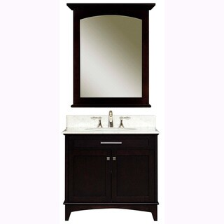 Water Creation Manhattan 30-inch Dark Espresso White Marble Top Vanity