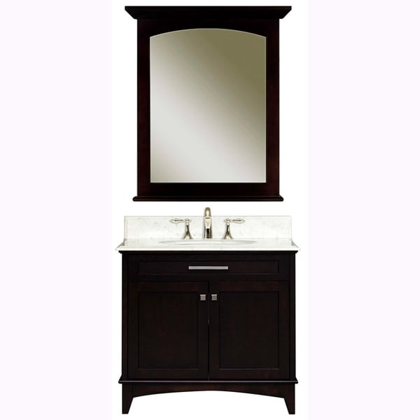Water Creation Manhattan 30-inch Dark Espresso White Marble Top Vanity