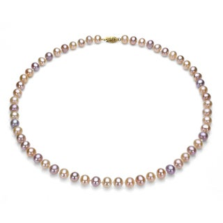 DaVonna 14k 6.5-7mm Multi-Pink Freshwater Cultured Pearl Strand Necklace (16-36 inches)