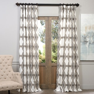 EFF Sorong Grey Printed Cotton Pole Pocket Curtain Panel