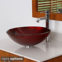 ELITE 7005F371023 Modern Design Tempered Glass Bathroom Vessel Sink and Faucet Combo