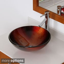 ELITE 7005F371023 Illusion Design Tempered Glass Bathroom Vessel Sink and Faucet Combo