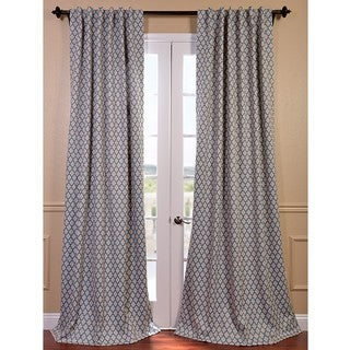 Casablanca Aqua/ Beige Pole Pocket Blackout Curtain Panel