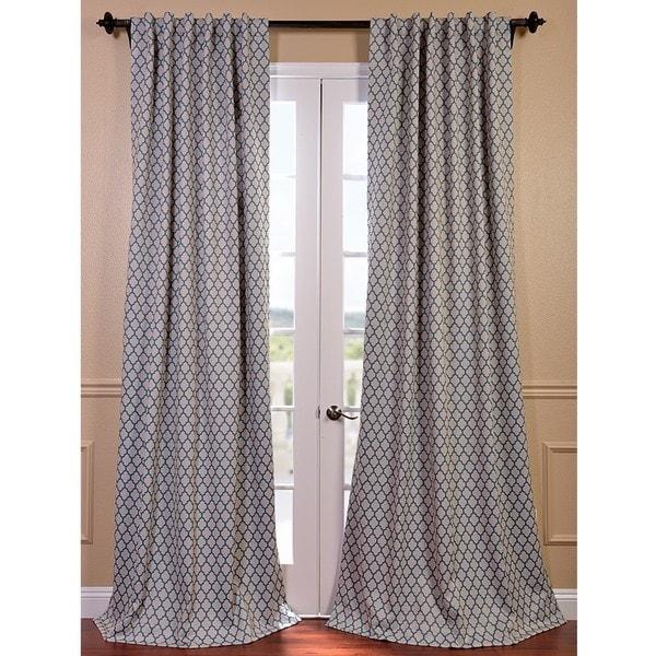 Casablanca Aqua/ Beige Pole Pocket Blackout Curtain Panel