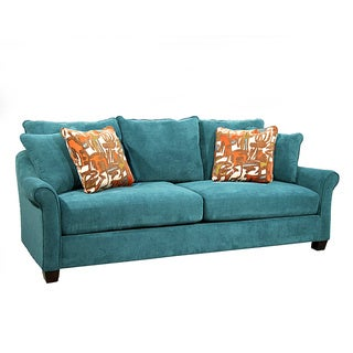 Isabella teal sofa overstock shopping great deals on for Teal sofas for sale