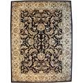Hand-tufted Isphan Black/ Beige Wool Rug (8' x 11')